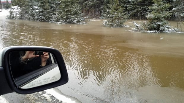 Road closures continue to pop up throughout northeastern Ontario as the region deals with rising water levels from rainfall and melting snow. Pictured here is flooding along Hwy 17 near Hagar, Ont.