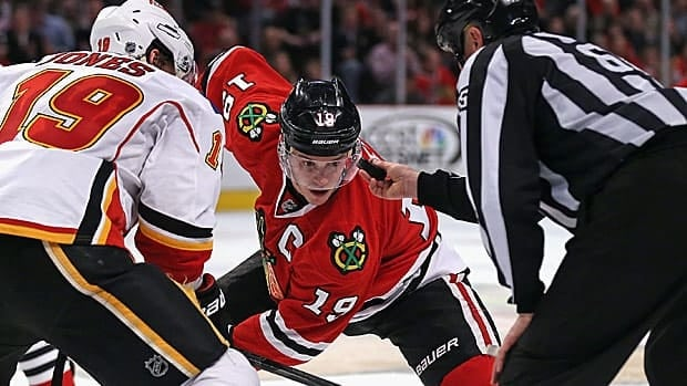 Jonathan Toews of Chicago converted over 59 per cent of face-offs.
