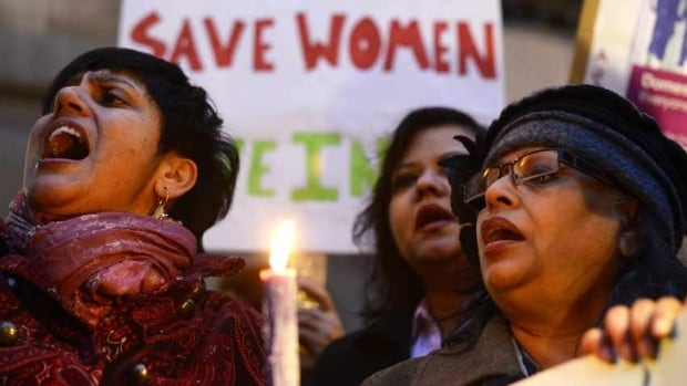 Women protest outside the Indian High Commission in London, on Jan. 7, 2013, as New Delhi prepares to put five men accused of rape and murder on trial.