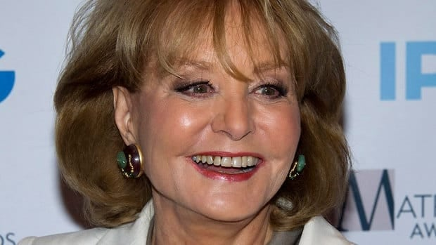 Veteran TV journalist Barbara Walters, seen in April 2012, has fallen at an inauguration party in Washington and been hospitalized, according to an ABC News spokesman.