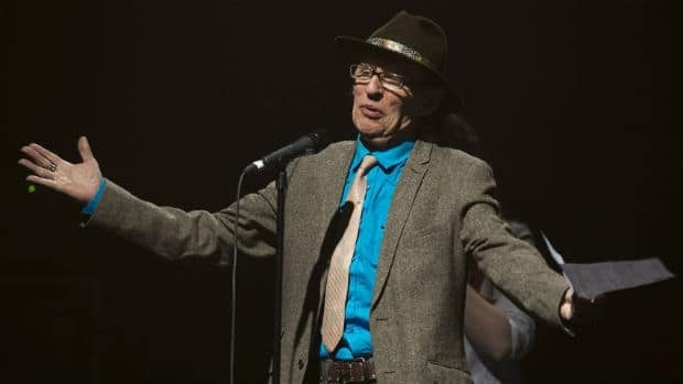 Ron Hynes accepts a special achievement award at the East Coast Music Awards Sunday night in Halifax.