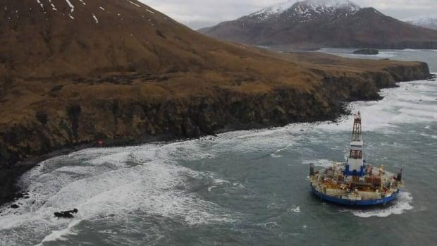The conical drilling unit Kulluk, sitting grounded 60 kilometres southwest of Kodiak City, Alaska, on Thursday.