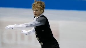 Kevin Reynolds of Canada performs during the men's free program of the ISU World Team Trophy Figure Skating in Tokyo on Friday.
