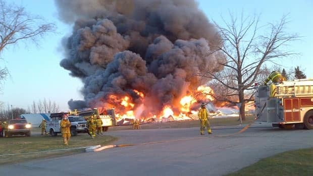 The arena in Leroy, Sask., burned to the ground.