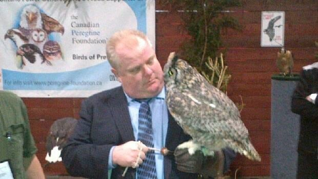 Toronto Mayor Rob Ford meets Alexandra the Great Horned Owl at the Sportsmen's Show on Thursday.