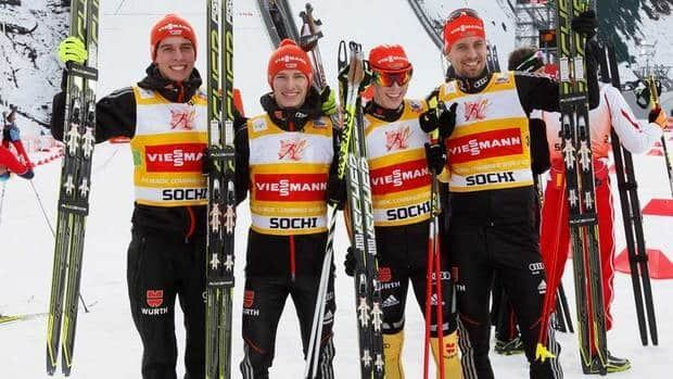 Members of team Germany, from left to right, Manuel Faisst, Johannes Rydzek, Bjoern Kircheisen and Eric Frenzel celebrate their first place at the FIS Nordic Combined World Cup in Sochi, Russia on Sunday.