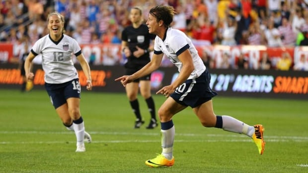 Abby Wambach (20) celebrates after scoring her 159th international goal in a friendly against  South Korea on Thursday in Harrison, N, J.