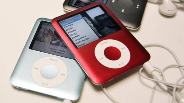 A shot of Apple iPod Nanos from a launch event in 2007. The University of Waterloo is asking for old MP3 players to donate to people with Alzheimer's and dementia, a measure to help improve quality of life.
