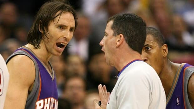 Canadian Steve Nash, seen while with the Phoenix Suns, argues in a 2006 game with NBA referee Tim Donaghy, who would be disgraced a year later in a betting scandal the league insisted involved only one rogue official.