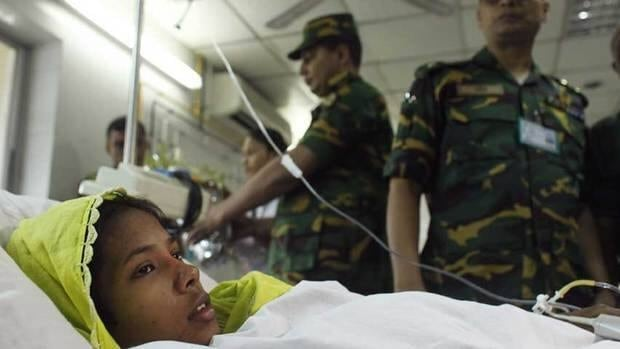 Reshma Begum, 19, rescued from the rubble of the Rana Plaza building 17 days after the building collapsed, lies on a bed at Savar Combined Military Hospital in Savar May 11.