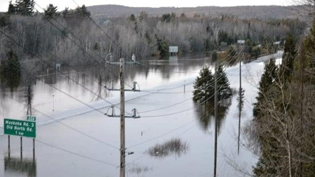 Several roads near Huntsville, Ontario are impassable.