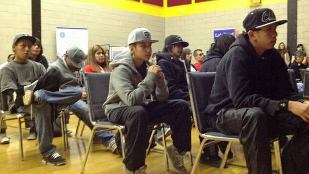 Students returning for the second semester at Dennis Franklin Cromarty First Nations high school in Thunder Bay attend a special welcome assembly where they were given information about Idle No More, and cautioned about their safety in the city.
