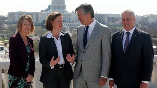 Alberta Premier Alison Redford meets with Gary Doer, Canada's ambassador to the United States (second from the right) in Washington on Tuesday. Redford was joined by Environment and Sustainable Resource Minister Diana McQueen and International and Intergovernmental Relations Minister Cal Dallas.