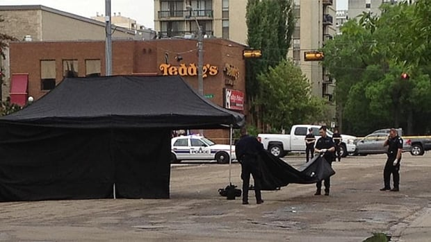 Edmonton police investigate a suspicious death at 114th Street north of Jasper Avenue Monday morning.