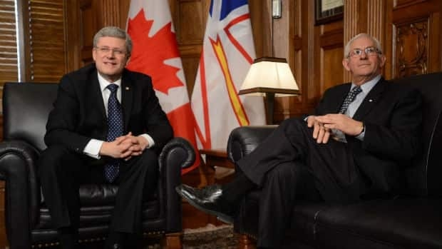 Prime Minister Stephen Harper and Frank Fagan chat in Ottawa Tuesday, after the PM announced Fagan would become Newfoundland and Labrador's next lieutenant-governor.