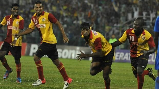 East Bengal players are seen celebrating during a 2012 match.