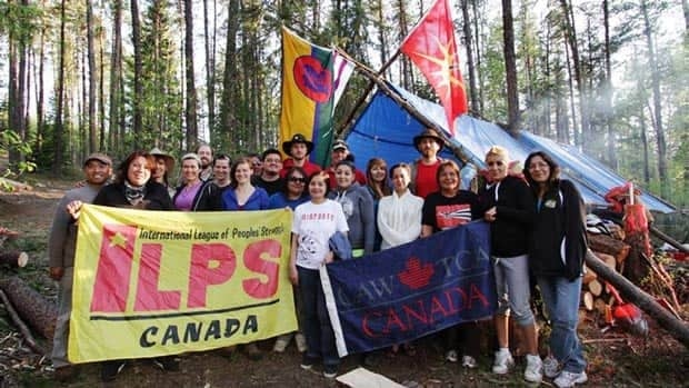 More than a dozen volunteers with the Indigenous League of Peoples Struggles travelled into the northern Ontario bush to help Darlene Necan build a cabin on her family's trap line.