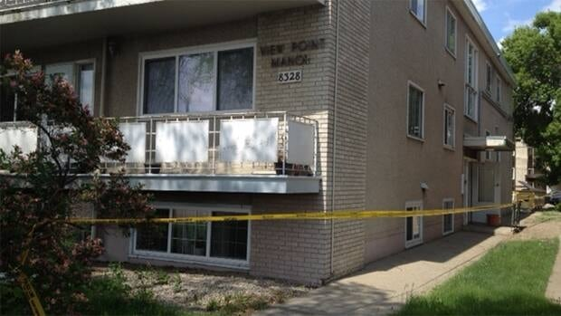 Police taped off a walk-up apartment on Jasper Avenue and 83rd Street while investigating a suspicious death Monday.