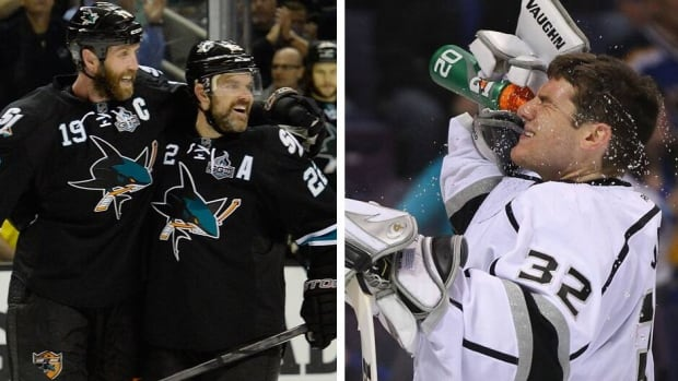 The Sharks' Joe Thornton and Dan Boyle need to beat Jonathan Quick, right, and the Kings on Sunday night to keep their season alive.