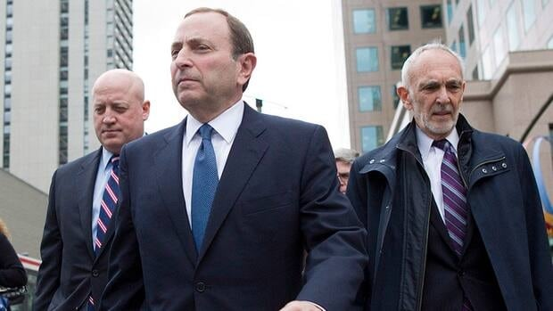 NHL Commissioner Gary Bettman, centre, said late Wednesday night that some progress was made during meetings with the NHLPA. Fans were quick to react on Twitter to yet another disappointing night that ended without a new labour deal.