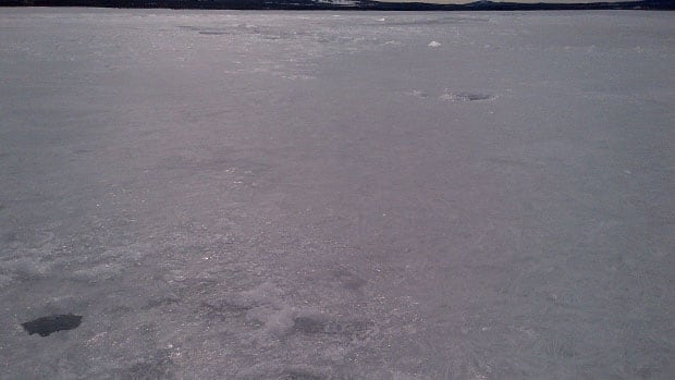 Ice covering Dawe's Lake earlier this week appears to have been disturbed by a large object.