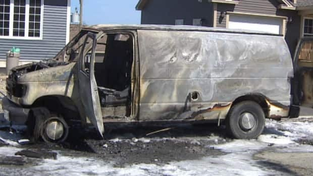 This van was fully engulfed in flames when firefighters arrived on scene in Paradise on Saturday afternoon. CBC