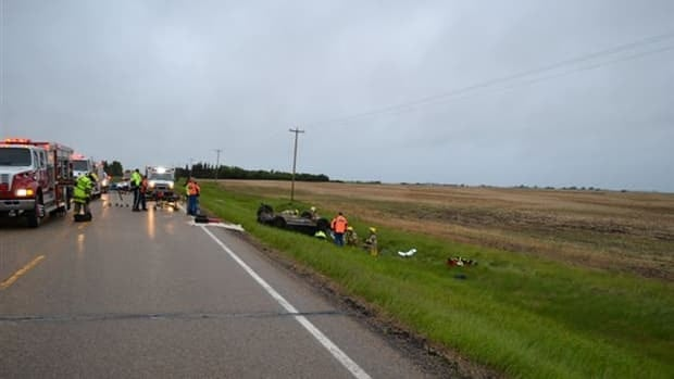 One man is dead and two others in hospital Sunday after an early morning rollover near Camrose.