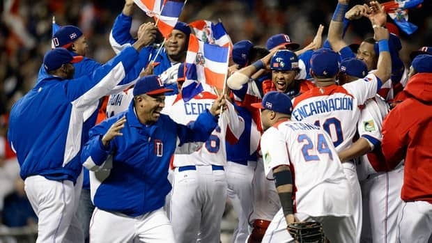 The Dominican Republic celerbates after defeating Puerto Rico to win the Championship Round of the 2013 World Baseball Classic.