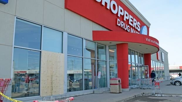 It was still unknown Tuesday afternoon why a vehicle jumped a curb and smashed through this Thunder Bay pharmacy window.