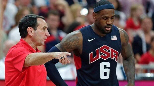 Mike Krzyzewski advises LeBron James during the 2012 Olympics in London.