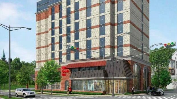 A proposal for a Hilton hotel would see a 12-storey complex built at the corner of New Gower and Springdale in downtown St. John's.