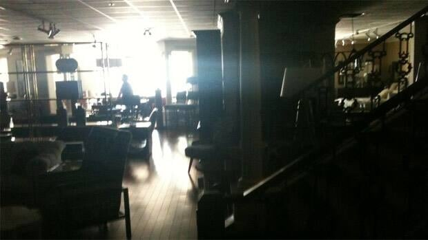 The blackouts affected many areas of Edmonton including 124th Street where this picture was taken inside of McElheran's Furniture.