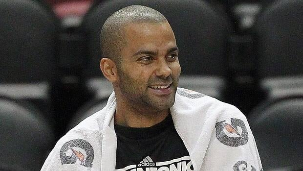 Tony Parker looks on during San Antonio's practice session on Wednesday.