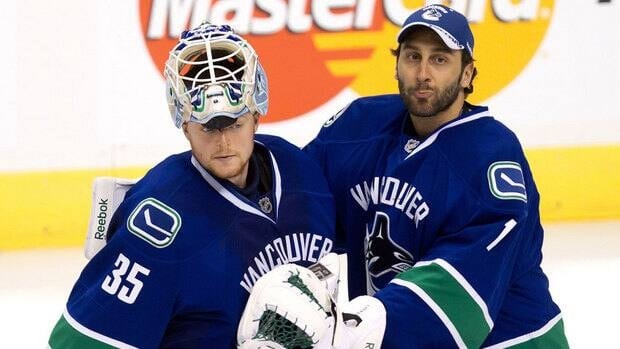 Pending a trade, Roberto Luongo, right, and Cory Schneider, pose a combined $9.3 million salary cap hit to the Canucks this season.