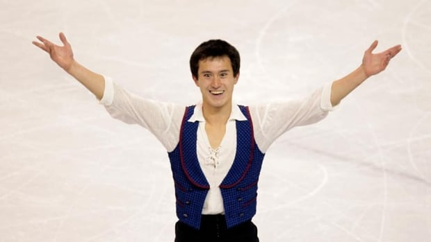 Patrick Chan of Canada reacts after his men's free program at the world figure skating championships Friday in London, Ont.