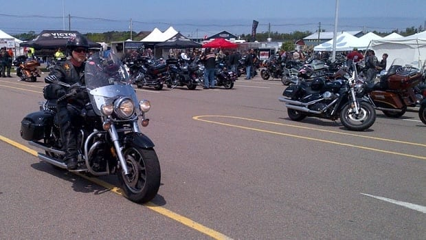 Bikers took advantage of the improved weather Sunday to get on the road.