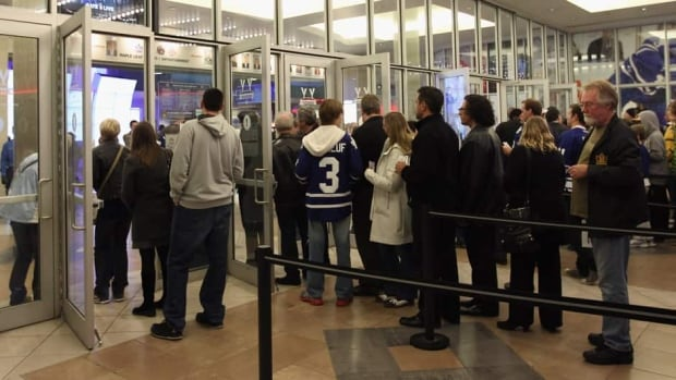 Fans line up for a game between the Toronto Maple Leafs and the Phoenix Coyotes at the Air Canada Centre.