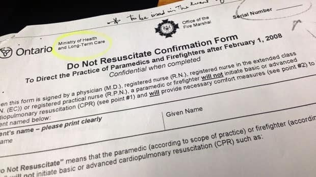 An Ontario Do Not Resuscitate form. More people need to be aware these forms exist and what they mean, a Sudbury doctor says.
