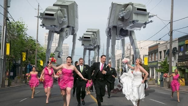 Hamiltonian Tony Lombardo and his wife Danielle run the Toronto-based Little Blue Lemon Photography, and shot this photo of three AT-AT walkers from Star Wars chasing Leslie Seiler and Paul Kingston's wedding party.