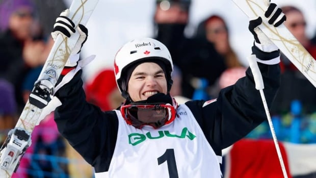 Mikael Kingsbury celebrates his victory in the moguls final in Voss, Norway.