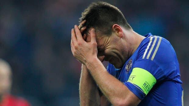 Chelsea's John Terry reacts during their Europa League soccer match against Steaua Bucharest on Thursday.
