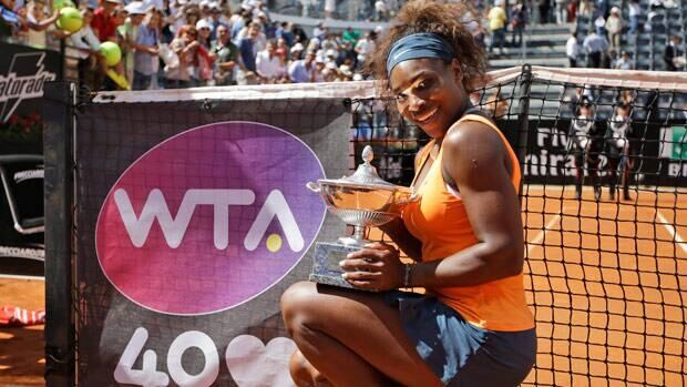 Serena Williams, of the United States, poses with the trophy after winning the Italian Open last week in Rome.