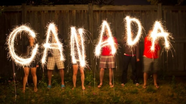Canada, spelled out with sparklers, in a long-exposure photo. Check out our recommendations for Canada Day in Waterloo Region.