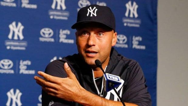 New York Yankees shortstop Derek Jeter talks to the media before the Yankees' game Thursday against the Toronto Blue Jays.