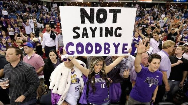 Sacramento Kings fans showing their support after a game against the Los Angeles Clippers in on April 17, 2013.