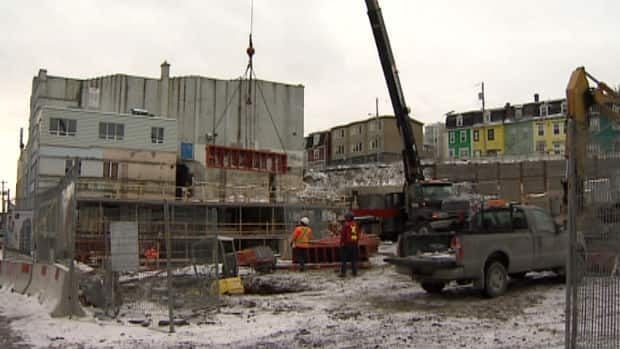 A work crew in one of the construction sites in downtown St. John's.