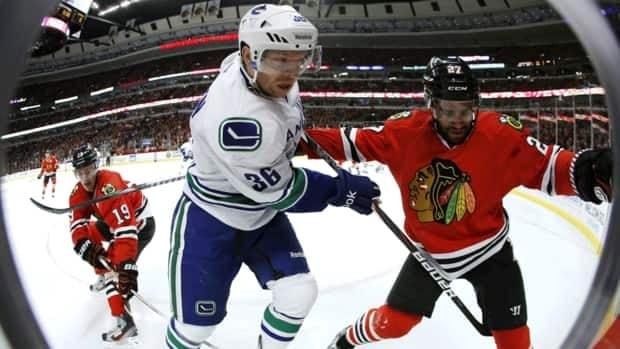 Vancouver Canucks winger Jannik Hansen (36) was suspended one game by the NHL on  Wednesday for a hit to the head to Chicago Blackhawks forward Marian Hossa.