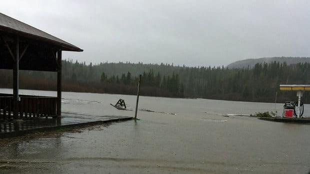 Wawa resident Derek Chapman snapped this picture of the rising water levels at the town marina.