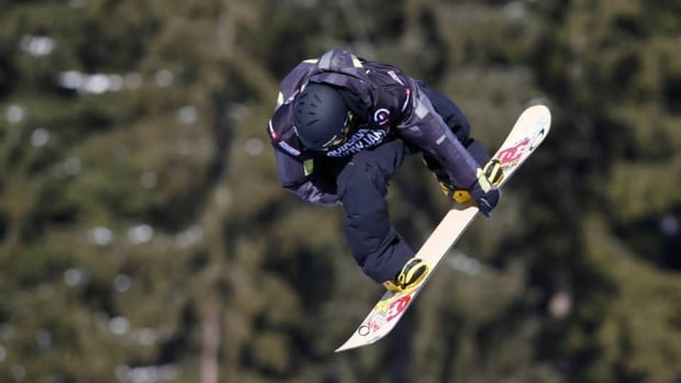 Torstein Horgmo from Norway is airborne to win the men's slope style snowboard World Cup event in Spindleruv Mlyn, Czech Republic on Saturday.