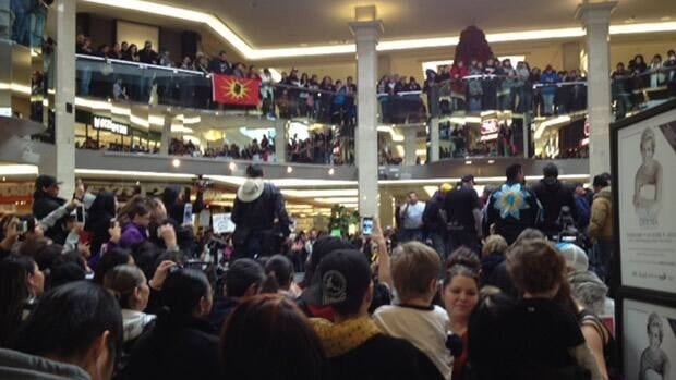Thousands of people gathered in West Edmonton Mall Sunday, as Idle No More protests continued following a meeting between First Nations leaders and Stephen Harper Friday.